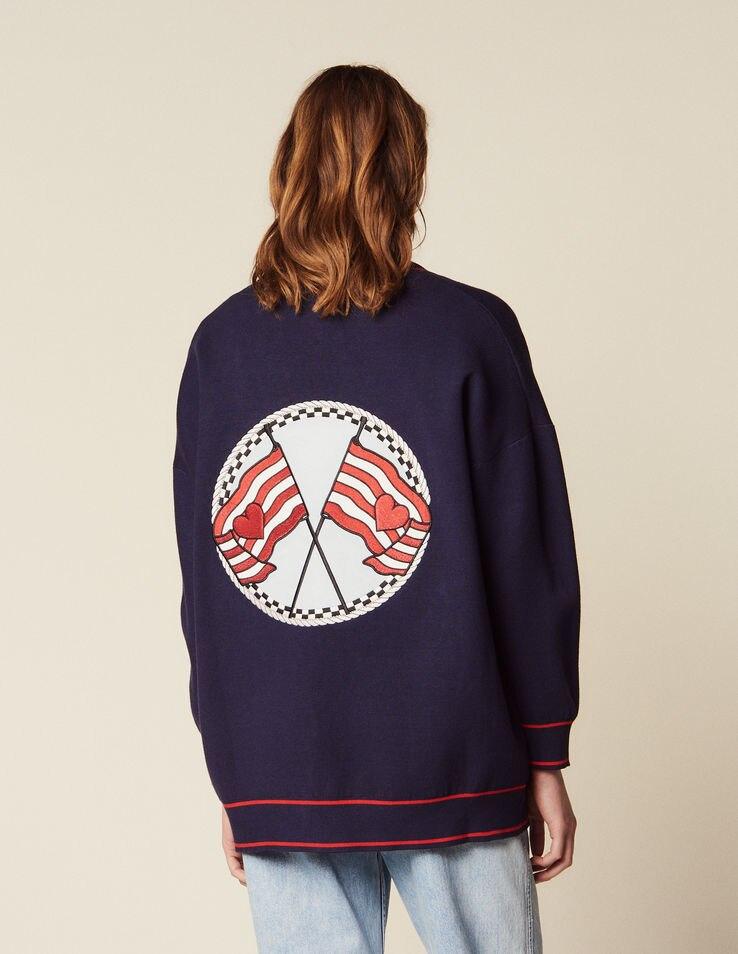여성 스웨터 2019 봄과 여름 느슨한 대학 스타일 대비 색 캐주얼 니트 카디건-에서가디건부터 여성 의류 의  그룹 1