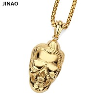 Hot Money Stainless Steel Skeleton Man Head Pendants Necklace Pendant HIPHOP Hip Hop Dance Act The