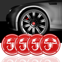 4PCS 56MM Aluminum Scorpion Car Wheel Rim Cap Badge Emblem Decal Sticker for Fiat 500 Punto Bravo Stilo Panda Abarth