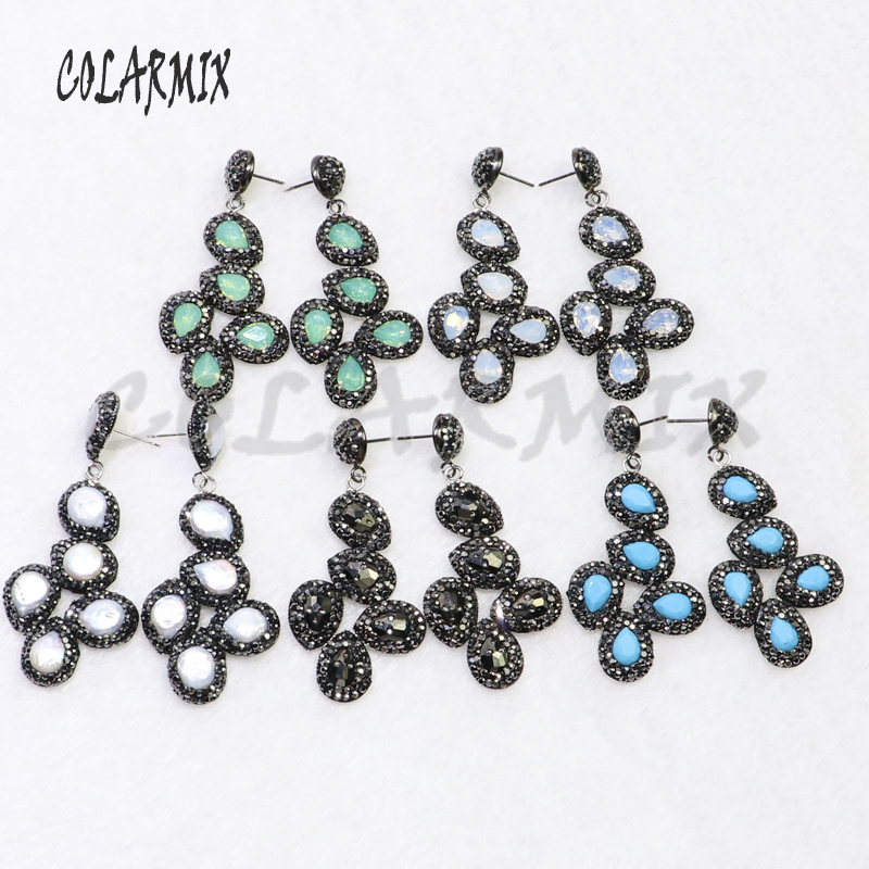 5 pairs crystal earring 6 beads earrings wholesale earrings gems jewelry handcrafted women jewelry gift 6015