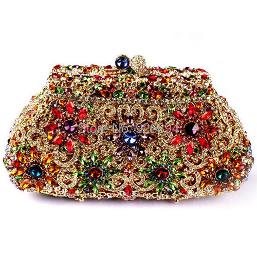 все цены на New 2015 Filigree bright high quality luxury diamond crystal clutch evening bag ladies handbag mini mini purse wallet 2 colors