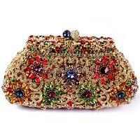 New 2015 Filigree bright high quality luxury diamond crystal clutch evening bag ladies handbag mini mini purse wallet 2 colors