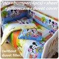 Promoción! 6 / 7 unids Mickey Mouse 100% calidad juegos de sábanas cuna cama kit alrededor piezas conjunto bebé ropa de cama 100% algodón, 120 * 60 / 120 * 70 cm