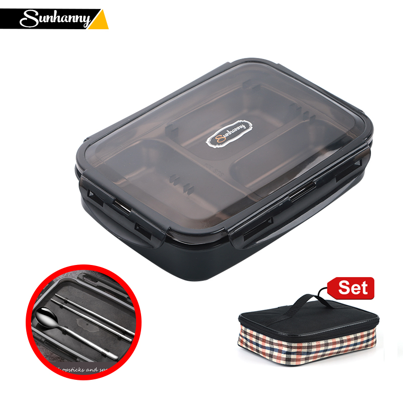 Sunhanny Portable Lunch Box For Kids School 304 Stainless Steel Bento Box Leak-proof Food Container with Chopsticks and Spoon