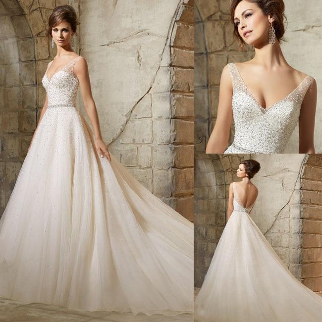 Popular glitter wedding dresses buy cheap glitter wedding for Bling wedding dresses 2017