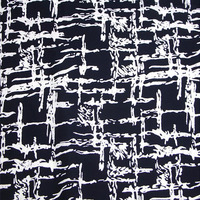 140 cm Largo Astratta In Bianco E Nero Blocco Rayon Della Stampa del Tessuto Intagliato A Mano Stampa Apperal Nero Materiale del Panno del Tessuto Al Metro