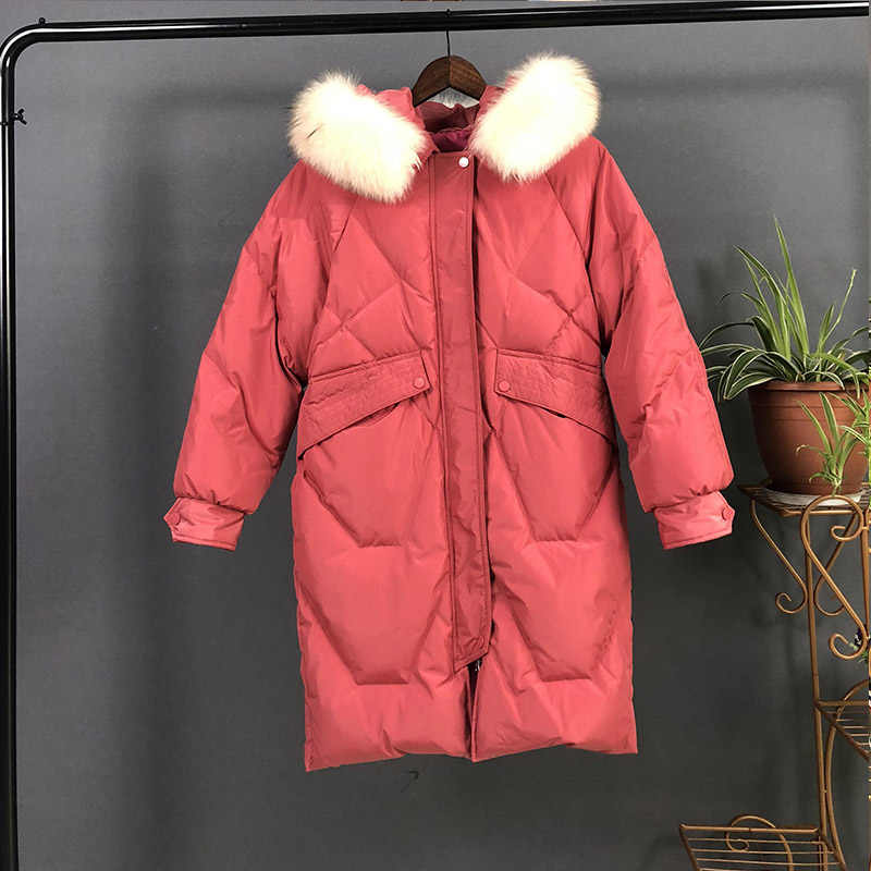 Fitaylor, новинка, большой пуховик из натурального меха енота, зимние куртки для женщин, с капюшоном, белый утиный пух, пальто, женская теплая зимняя верхняя одежда