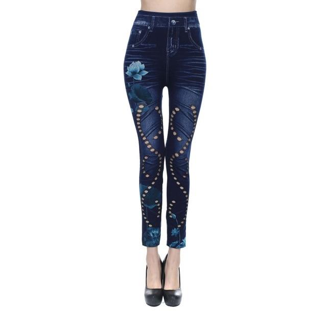 14a2aba4c45af € 5.35 26% de réduction|Femmes Faux Denim Jeans Leggings Mince Sexy Long  Trou Impression Crayon Pantalon Floral Imprimé Pantalon dans Pantalons et  ...
