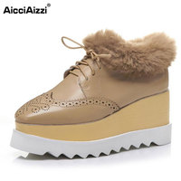 AicciAizzi Size 33 42 Ladies Real Leather High Wedges Boots Women Cross Strap Hallow Out Platform