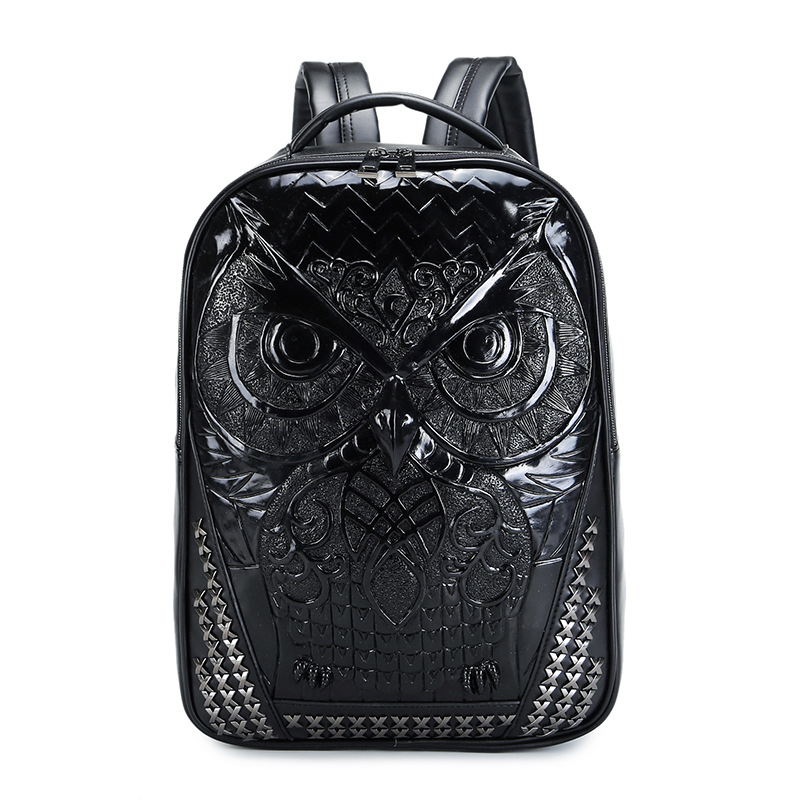 Personalized 3D Unisex Men Women Backpack Leather Owl Backpack For Teens Boy College High School Shoulder Bag 14 Inch Laptop Bag lowepro protactic 450 aw backpack rain professional slr for two cameras bag shoulder camera bag dslr 15 inch laptop