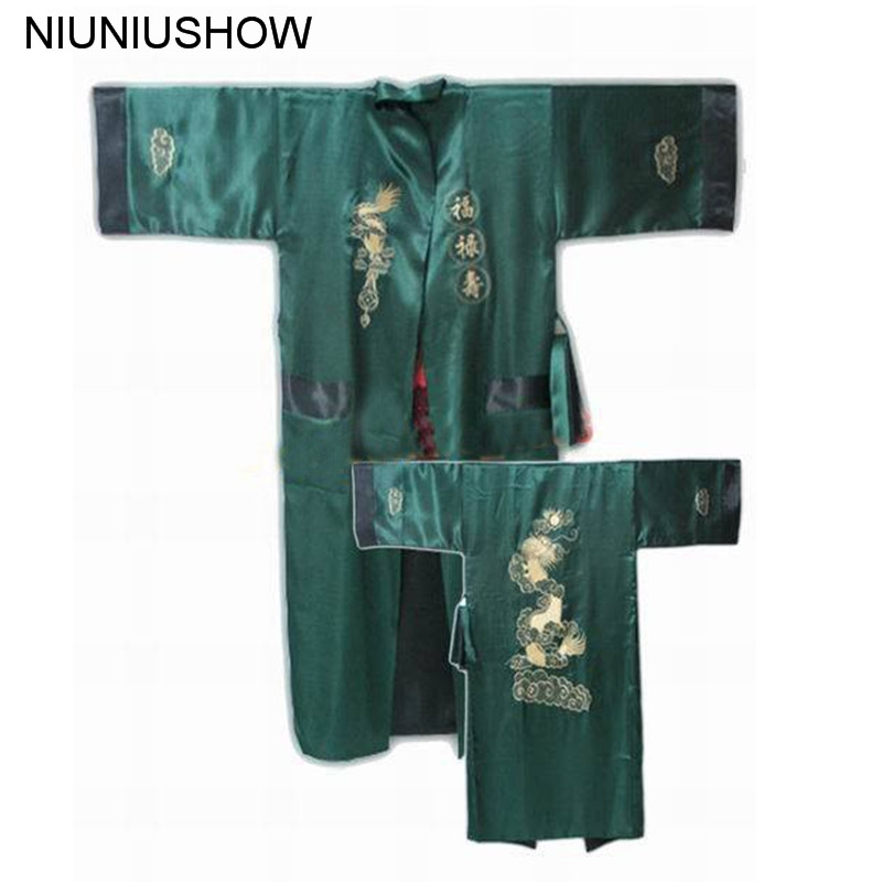 Green Black Reversible Chinese Men's Embroidery Kimono Satin Silk Two-face Robe Bath Gown Dragon One Size S3002
