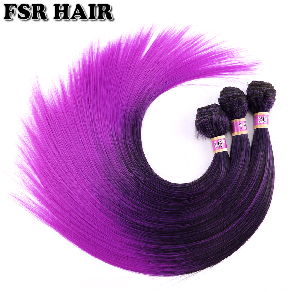 FSR Black To Purple Ombre Hair Weave Straight Hair 16 18 And 20 Inch 3pieces/Lot Synthetic Hair Extension