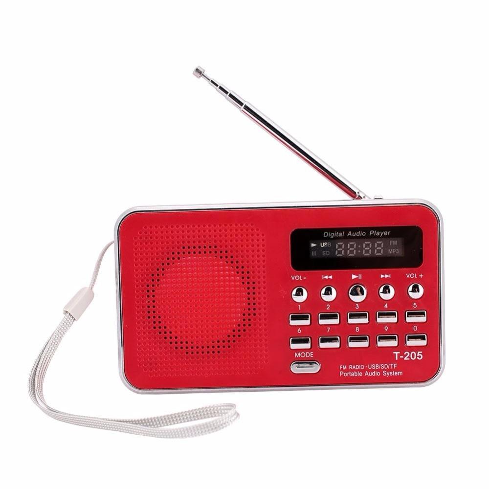 4 Colors T205 Portable LCD Display Digital FM Radio MP3 Player Mini Music Speaker Support TF/SD Card USB AUX Audio Input UM