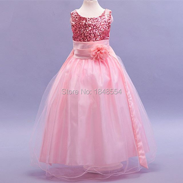 Mzy698 Pink White Ball Gown Sequined Cute Flower Dress Little Small Baby
