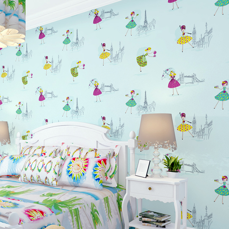 Modern Cartoon Girl Dance Princess Wallpaper Roll Background Non-woven Wall Paper For Children Room Home Decorative WP213 non woven bubble butterfly wallpaper design modern pastoral flock 3d circle wall paper for living room background walls 10m roll