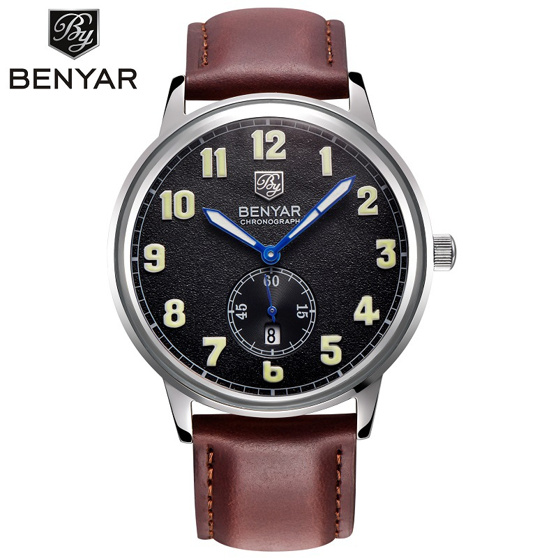 где купить  Benyar Luxury Brand Military Watches Men Quartz Analog Genuine Leather Clock Man Sports Watches Army Watch Relogio Masculino  по лучшей цене