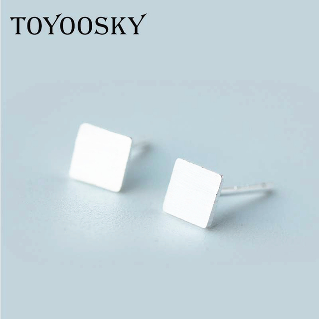 2017 Simple Small Square Stud Earrings In Silver Women Tiny Cute Earring Studs Minimal