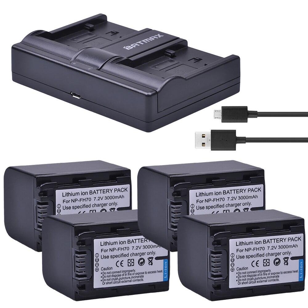 Batmax 4 pc NP-FH70 NP FH70 Caméra batteries + USB Double Chargeur pour Sony FH50 FH100 A230 A330 A290 A380 DSC-HX1 HX100 HX100V HDR-TG