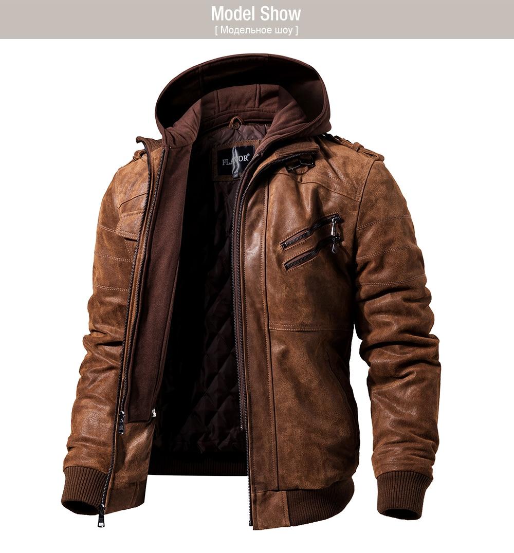 HTB17X3fXZvrK1Rjy0Feq6ATmVXa8 Men's Real Leather Jacket Men Motorcycle Removable Hood winter coat Men Warm Genuine Leather Jackets