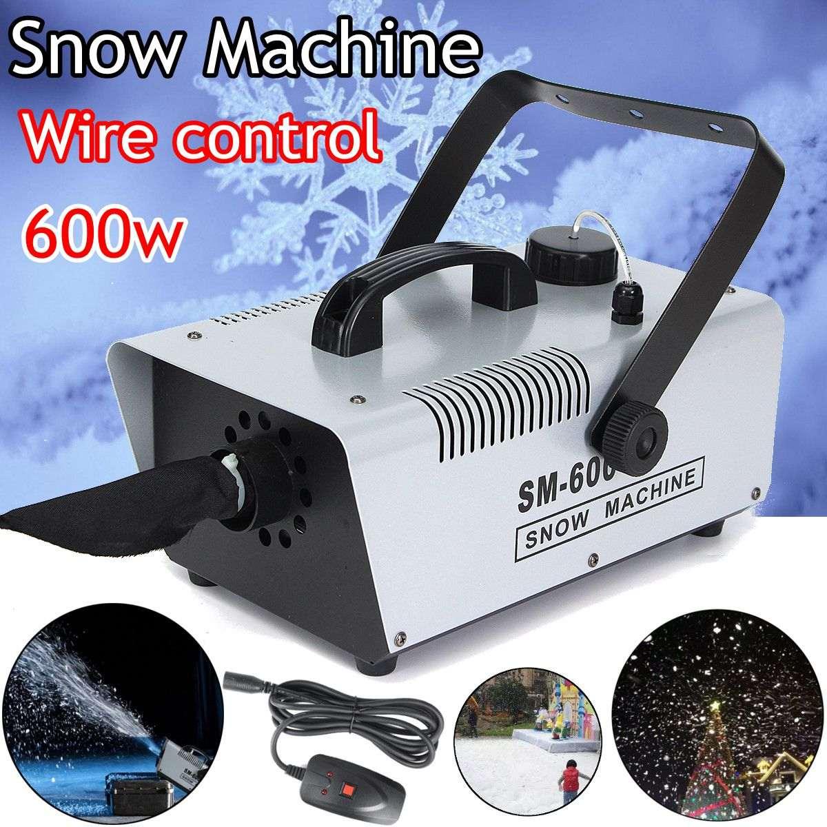 110V/220V 600W Mini Flurry Snow Machine Stage Effect + Wired Remote for Holiday Stage Show mini 600w snow machine pro snow snowflake snow maker machine stage dj party show