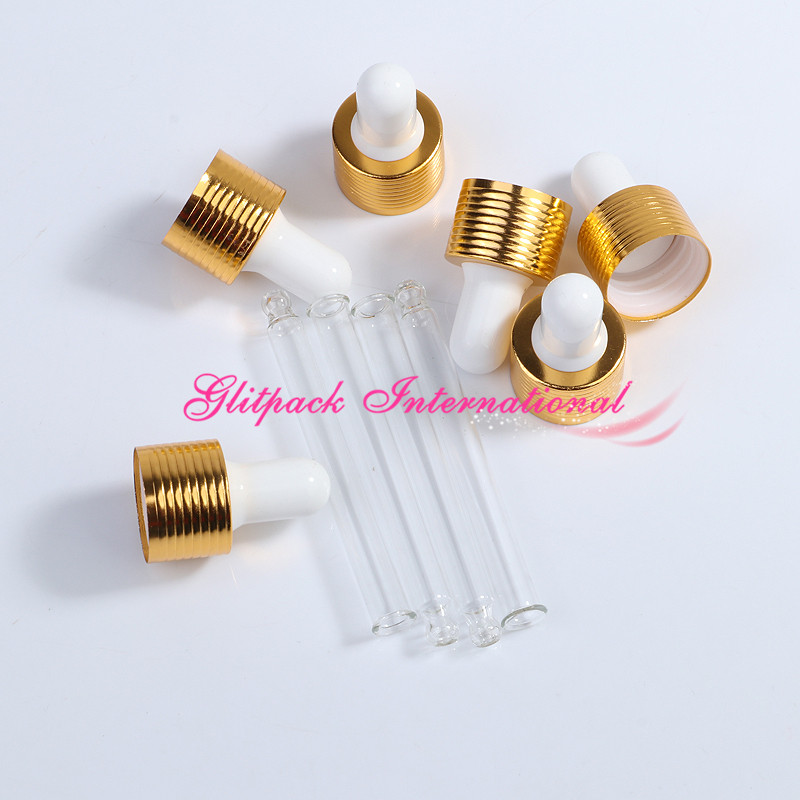 Gold droppers ribbed ring Rubber Head glass pipette for essential oil bottles closure cap metal cover 5/10/15/20/30/50/100ml laboratory pipette silicone rubber head dropper cap thick rubber latex tips for 1ml pipettes pack of 50 piece