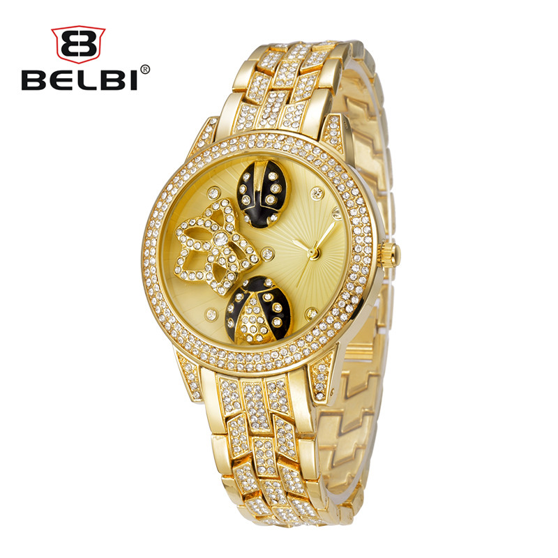 BELBI New Brand 3D Insect Printing Dial Ladies Watch Fashion Alloy High Quality Quartz Women Watches Luxury Gold Wrist watches