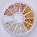 1 Caja de Acero Del Grano 3D Decoración de Uñas 0.8mm/1.0mm/1.2mm/1.5mm Mixta Rhinestone rueda de la Manicura Del Clavo de DIY Arte Decoración