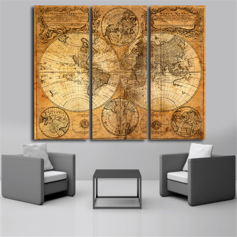 3 Pieces Vintage World Map Canvas Oil Painting Home Wall ...