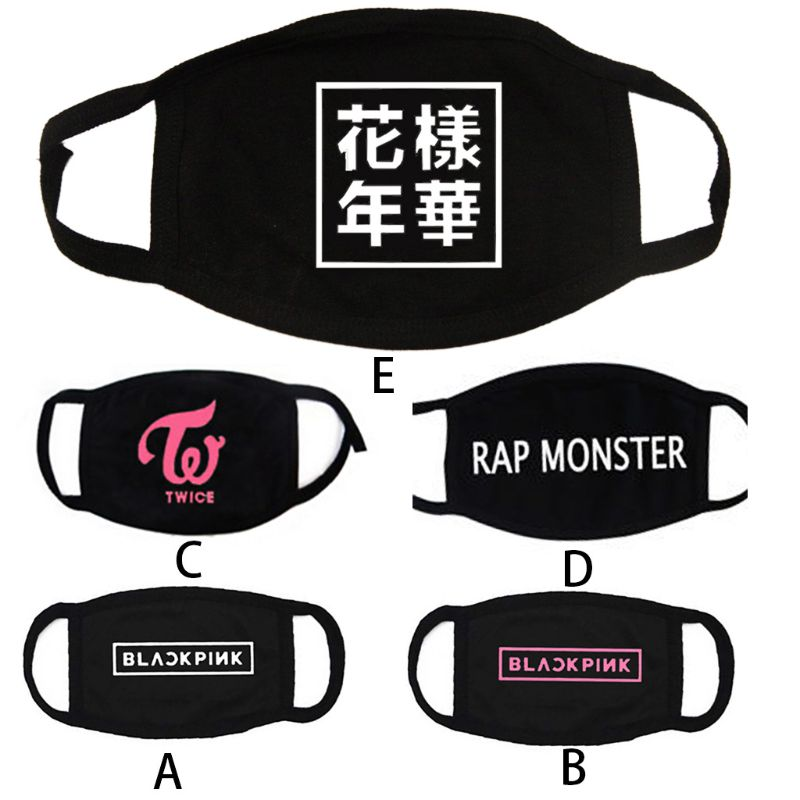 1Pc Unisex Letters Printed Cotton Half Face Mouth Mask Korean Group Kpop Twice Anti-Dust Respirator Winter Mouth Cover