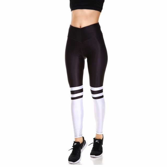 bbd9ec565a5f3 Black White Striped Leggings Workout Clothes for Women High Waist Fitness  2018 Spring Casual Womens Leggings Pants