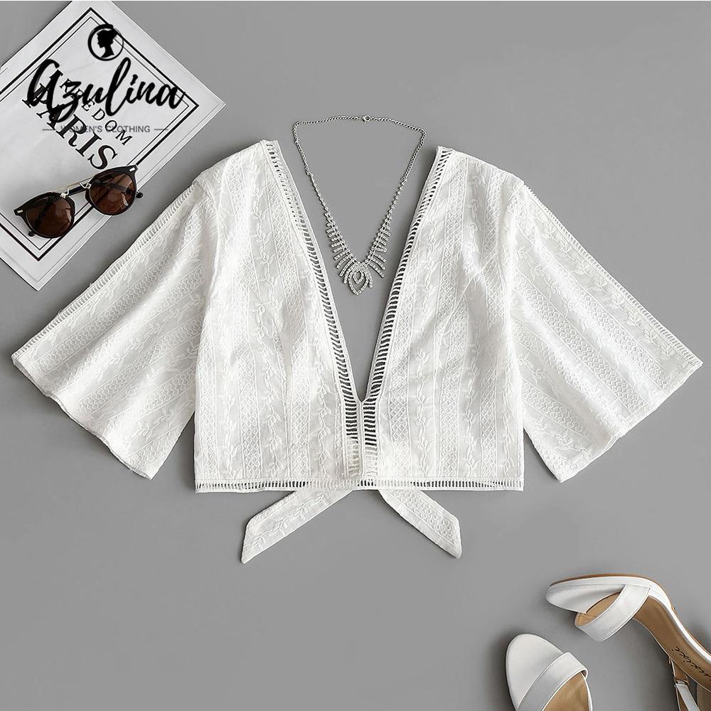 AZULINA Crochet Insert Bowknot Hem Deep V Neck Blouse Women Casual White Crop Top Girls Clothes Ladies Blouses Shirts Blusas