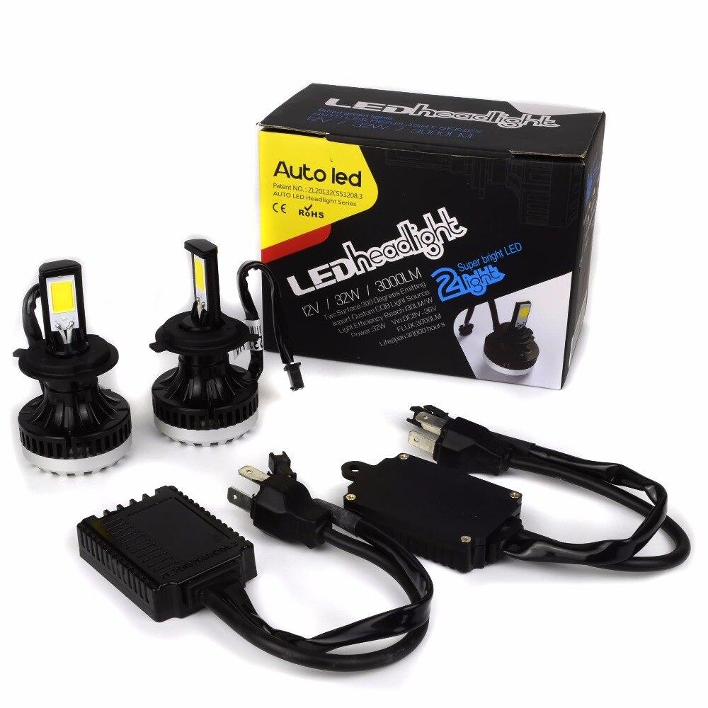 HB3 9005 HB4 9006 H4 Hi Lo LED Auto Headlight Kit for Car LED Head Light Bulbs Lamp LED Fog Light Bulbs 6000LM 64W 12V White