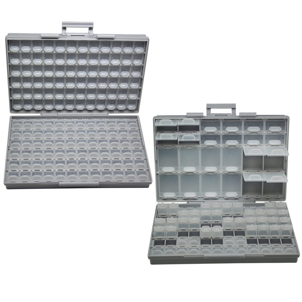 AideTek SMT Plastics Box Storage Toolbox Enclosure Compartments Each W/lid SMD BOXALL144+BOXALL96 Box Organizer Craft Beads Stor