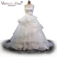 VARBOO_ELSA 2017 Sexy бретелек Белый Свадебное платье из фатина 3D цветок пояс свадебное платье Оборками Многоуровневого Свадебное бальное платье
