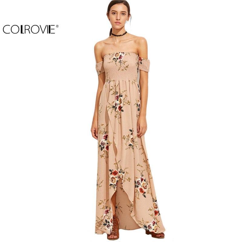 COLROVIE Vestidos Maxis de Largo Elegante Estilo Europeo Vestido de Las Mujeres
