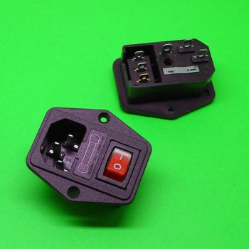DHL 100PCS AC power socket With fuse holder Triple It can be equipped with switch With screw holes