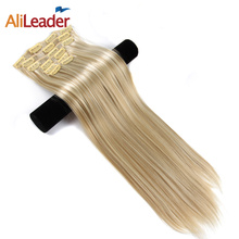 Alileader Made Clip In Hair Extensions Brown Blonde Ombre 16 Colors Heat Resistend Synthetic Hairpiece 6Pcs 56Cm Straight Hair