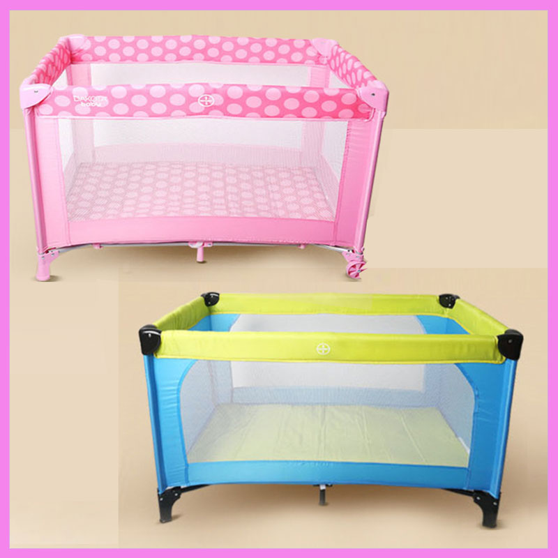 Newborn Baby Portable Foldable Children Game Bed Trolley Toddler Baby Square Game Cot Travel Crib Mosquito Net with Roll Wheels ...