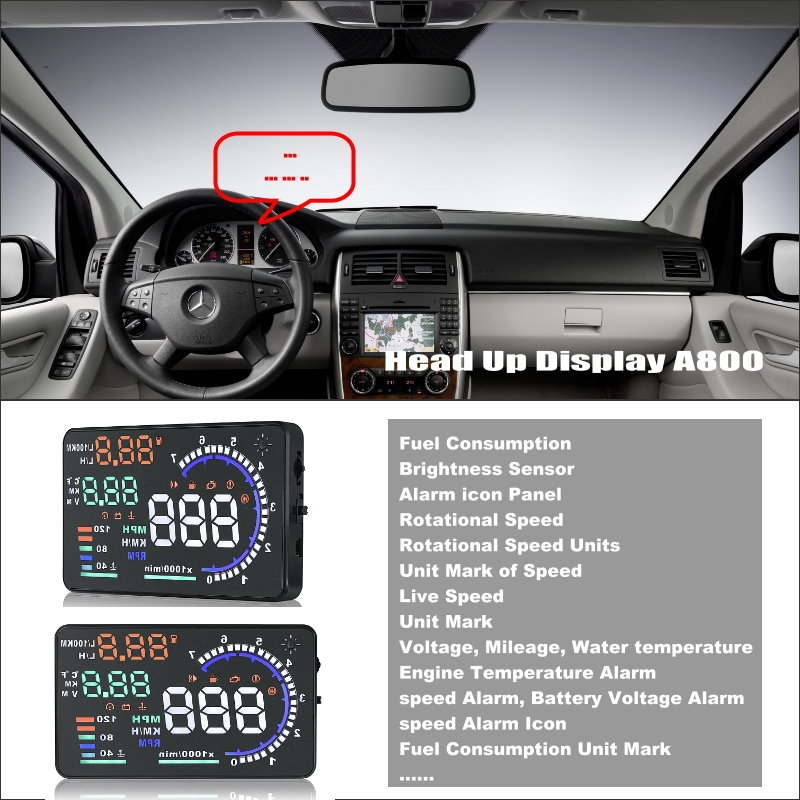 ФОТО For Mercedes Benz B Class W245 - Car HUD Head Up Display - Reflect Information alert onto windshield offering a safer driving