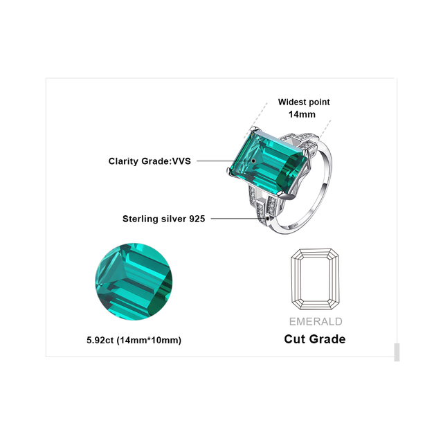 JewelryPalace Luxury 5.9ct Created Green Emerald Cocktail Ring Genuine 925 Sterling Silver Rings for Women Fine Jewelry
