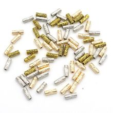 50pcs Metal Antique Silver Gold Tube Cylindrical Loose Beads For Jewelry Handmaking Diy HandWork Accessories Wholesale