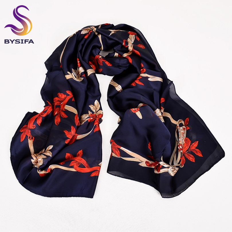 [BYSIFA] Ladies Silk   Scarf   Shawl Fashion Navy Blue Red Flowers Women Long   Scarves     Wraps   Spring Autumn Elegant Female Head   Scarf
