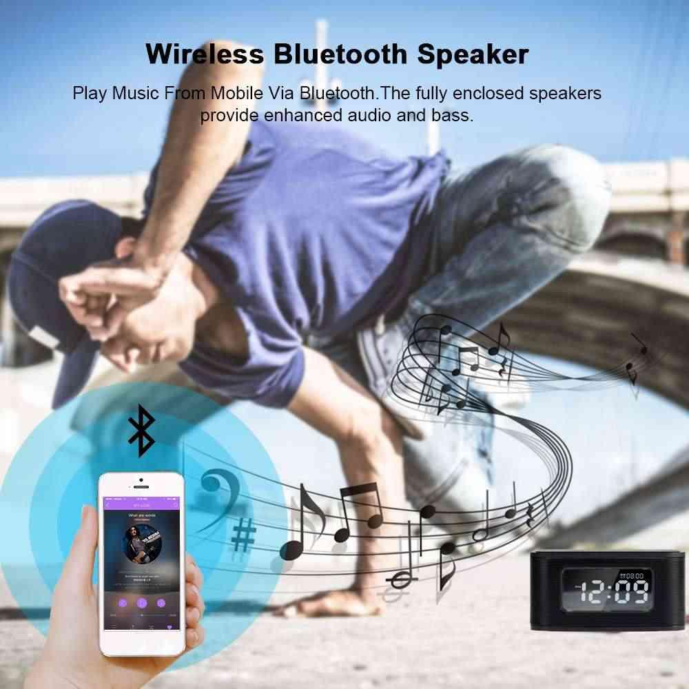 Bluetooth スピーカー/ワイヤレス充電器/FM ラジオ/スヌーズアラーム時計/USB 充電ポート IOS アンドロイド