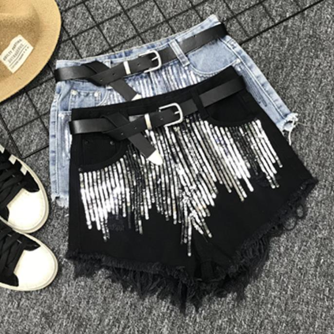 High Waist Denim Shorts Women Summer Loose Wide Leg Beads Sequined Jeans Shorts