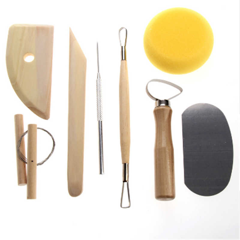 8Pcs Pottery Tool Set Pottery Clay Ceramics Molding Tools Stainless Steel Wood Sponge Tool Set Stainless Steel Wood Spong