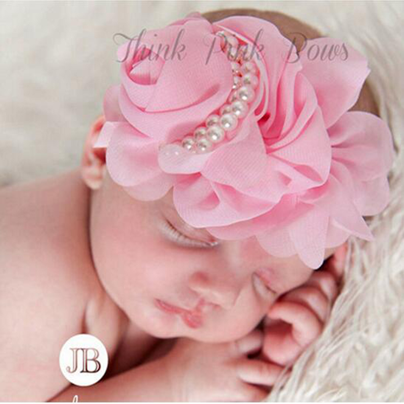 JRFSD Newborn Cute Pearl Rose Flower Hair Bands Chiffon Lace Headband Ribbon Elasticity Kids Hair Accessories Hairband for Girls jrfsd 1pcs hot sell girls headband with 3 or 6 flower pearl diamond hair bands headbands for girl elastic kids hair accessories