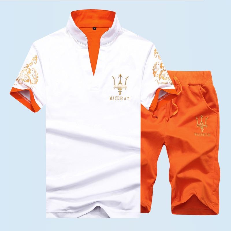 Men's Short Sleeve T-shirt Casual Suit Half Sleeve Fashion Suit 2019 New Men's Suit