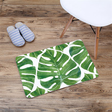 HOT Green Leaves Leaf Flannel Carpet Thicken Soft Caroset Anti skid Kitchen Bathroom Rug Office Bedroom Livingroom Floor Mat Pat