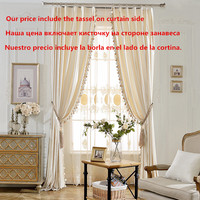 Cotton Velvet Blackout Curtains for Living Room Solid Simple Modern Curtain With tassel Tulle Sheer Curtain for Window Bedroom