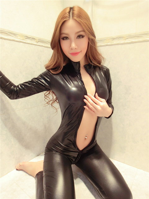 Sexy Leather Catsuit Latex Catsuit Pole Dancing Catsuit
